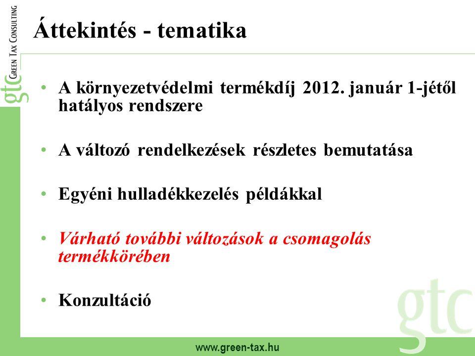 www.green-tax.hu Áttekintés - tematika A környezetvédelmi termékdíj 2012. január 1-jétől hatályos rendszere A változó rendelkezések részletes bemutatá