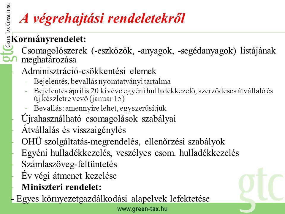 www.green-tax.hu A végrehajtási rendeletekről Kormányrendelet: -Csomagolószerek (-eszközök, -anyagok, -segédanyagok) listájának meghatározása -Adminis