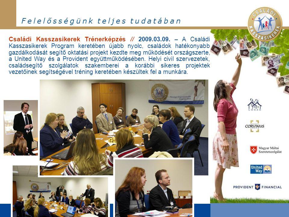 F e l e l ő s s é g ü n k t e l j e s t u d a t á b a n Családi Kasszasikerek Trénerképzés // 2009.03.09. – A Családi Kasszasikerek Program keretében