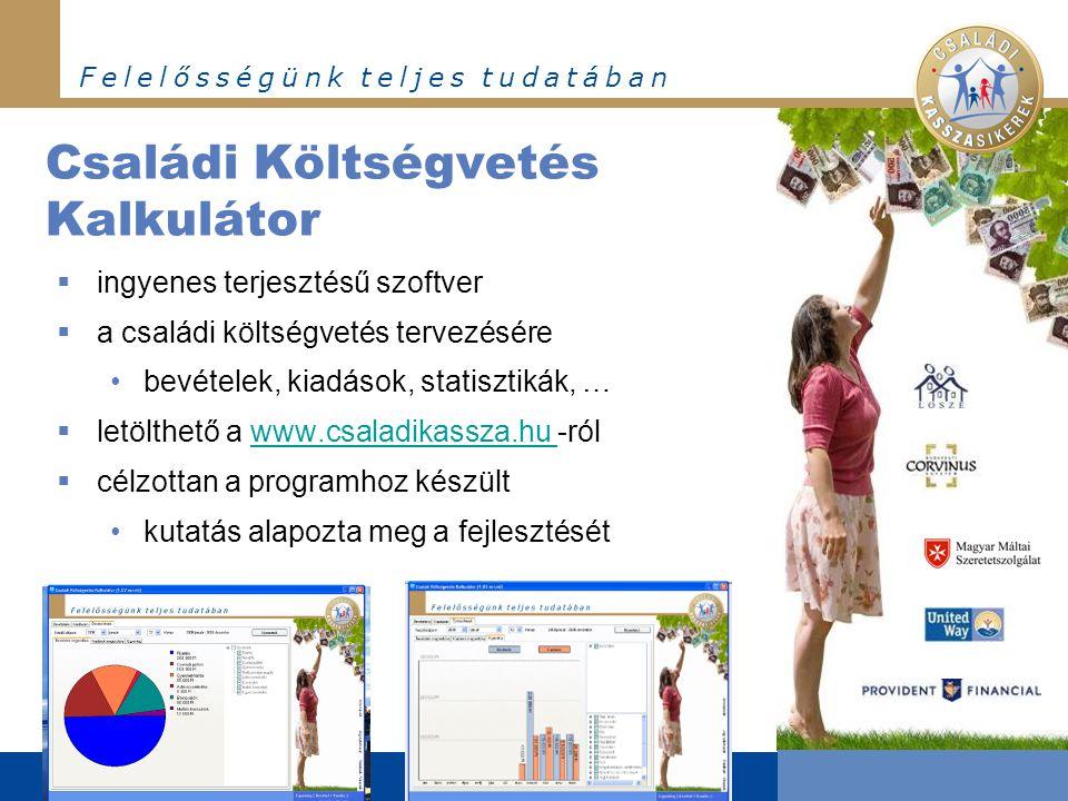 F e l e l ő s s é g ü n k t e l j e s t u d a t á b a n  ingyenes terjesztésű szoftver  a családi költségvetés tervezésére bevételek, kiadások, stat