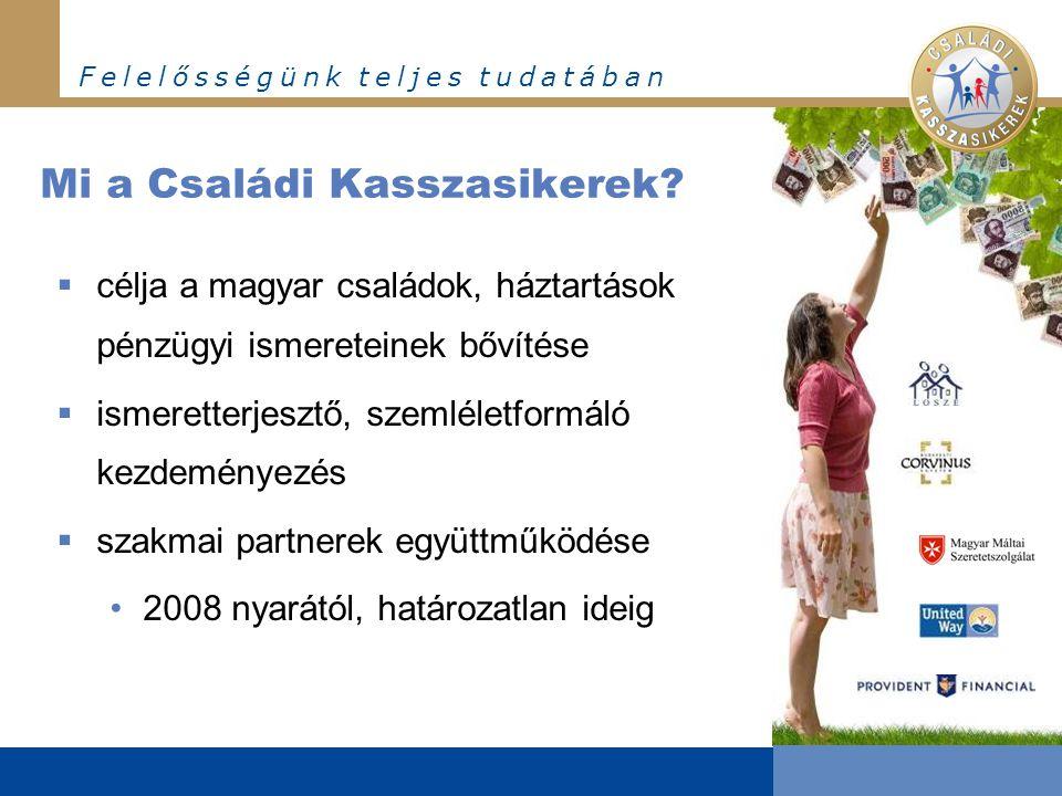 F e l e l ő s s é g ü n k t e l j e s t u d a t á b a n Mi a Családi Kasszasikerek?  célja a magyar családok, háztartások pénzügyi ismereteinek bővít