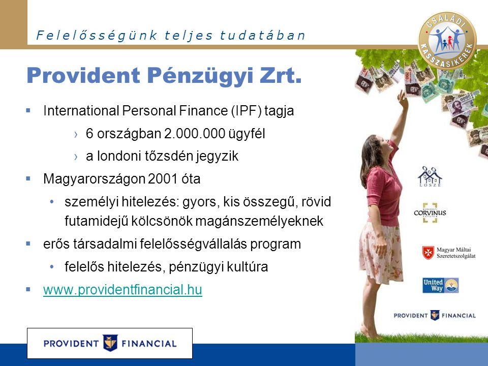 F e l e l ő s s é g ü n k t e l j e s t u d a t á b a n Provident Pénzügyi Zrt.  International Personal Finance (IPF) tagja ›6 országban 2.000.000 üg
