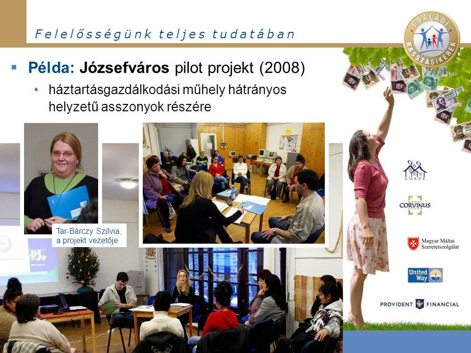 F e l e l ő s s é g ü n k t e l j e s t u d a t á b a n  Példa: Józsefváros pilot projekt (2008) háztartásgazdálkodási műhely hátrányos helyzetű assz