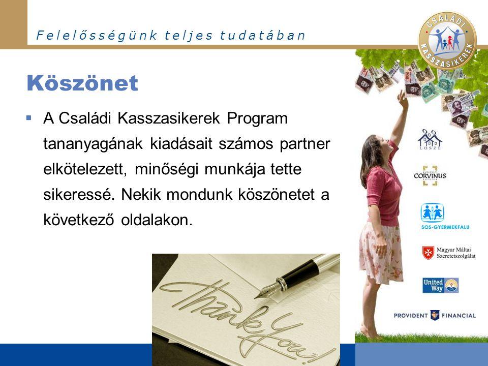 F e l e l ő s s é g ü n k t e l j e s t u d a t á b a n Köszönet  A Családi Kasszasikerek Program tananyagának kiadásait számos partner elkötelezett, minőségi munkája tette sikeressé.
