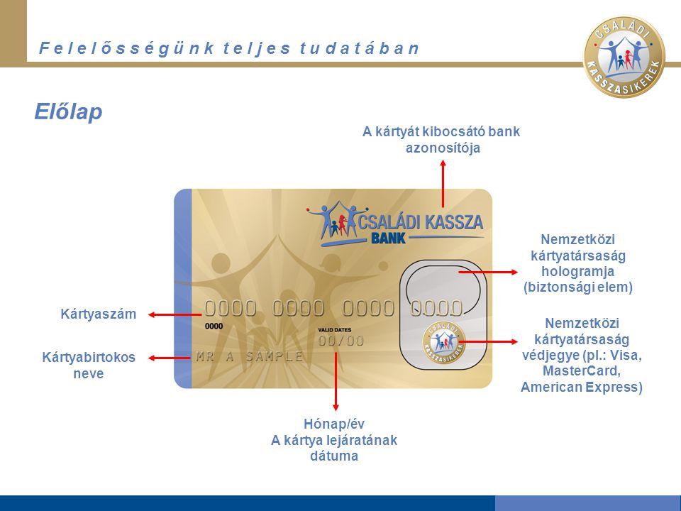 F e l e l ő s s é g ü n k t e l j e s t u d a t á b a n Előlap A kártyát kibocsátó bank azonosítója Nemzetközi kártyatársaság hologramja (biztonsági elem) Nemzetközi kártyatársaság védjegye (pl.: Visa, MasterCard, American Express) Hónap/év A kártya lejáratának dátuma Kártyabirtokos neve Kártyaszám