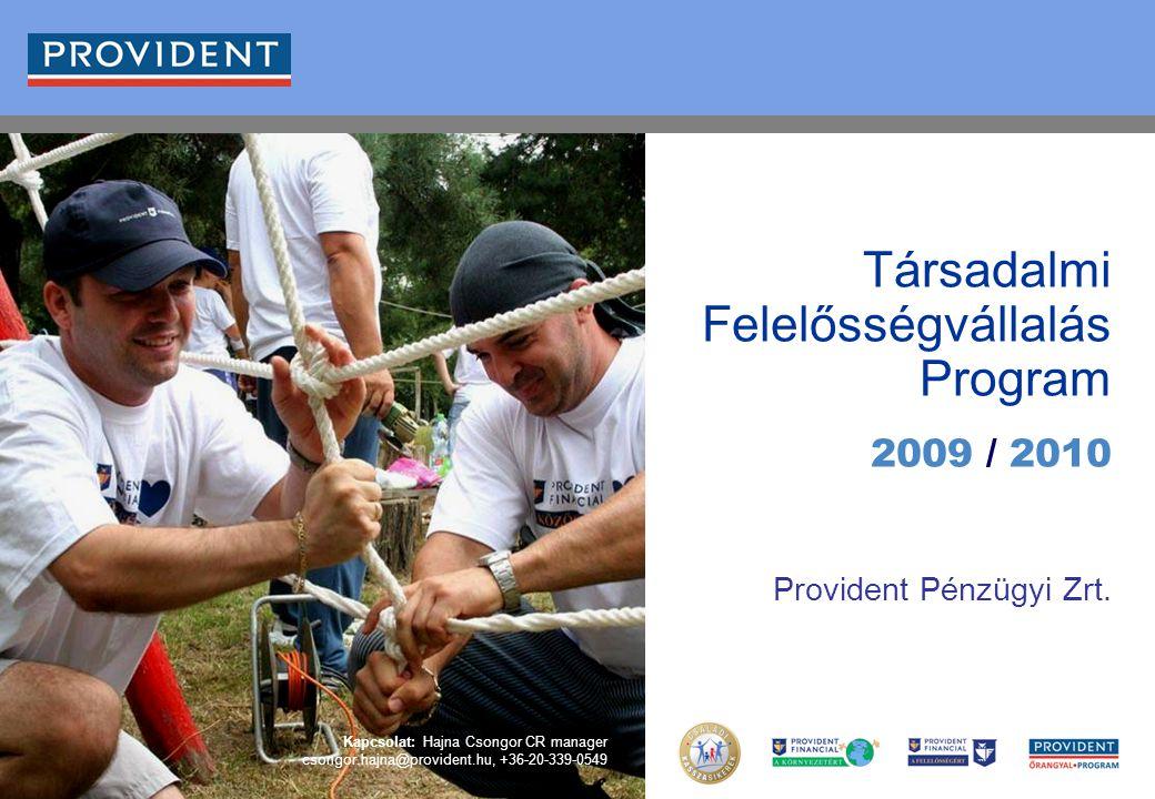 0 Társadalmi Felelősségvállalás Program 2009 / 2010 Provident Pénzügyi Zrt. Kapcsolat: Hajna Csongor CR manager csongor.hajna@provident.hu, +36-20-339