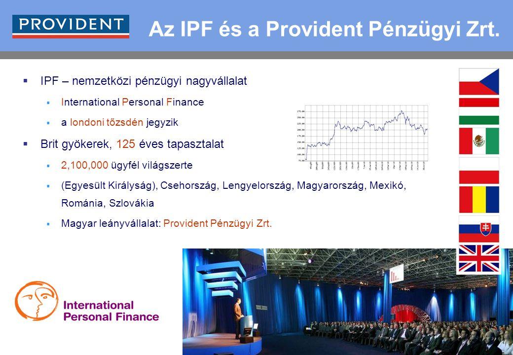 1 Az IPF és a Provident Pénzügyi Zrt.  IPF – nemzetközi pénzügyi nagyvállalat  International Personal Finance  a londoni tőzsdén jegyzik  Brit gyö
