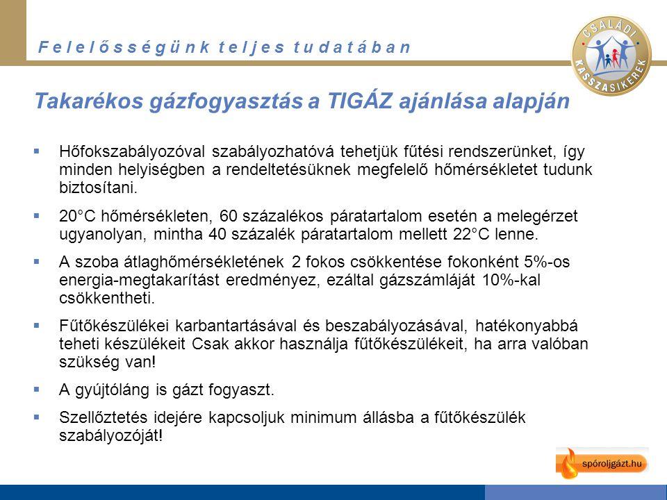 F e l e l ő s s é g ü n k t e l j e s t u d a t á b a n Takarékos gázfogyasztás a TIGÁZ ajánlása alapján  Hőfokszabályozóval szabályozhatóvá tehetjük fűtési rendszerünket, így minden helyiségben a rendeltetésüknek megfelelő hőmérsékletet tudunk biztosítani.