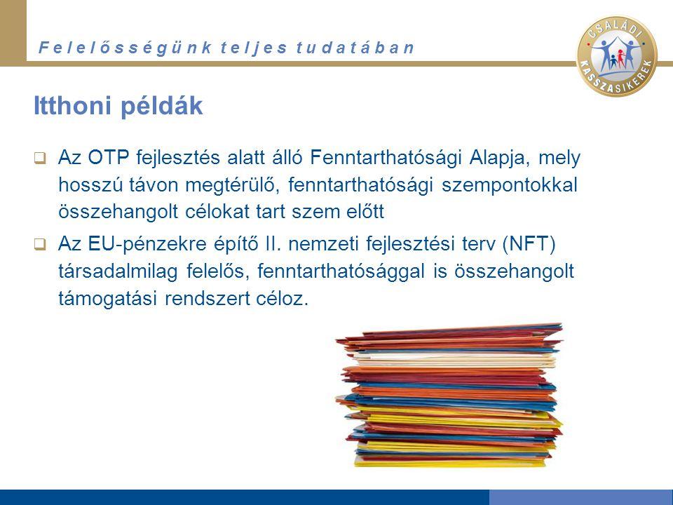 F e l e l ő s s é g ü n k t e l j e s t u d a t á b a n Itthoni példák  Az OTP fejlesztés alatt álló Fenntarthatósági Alapja, mely hosszú távon megtérülő, fenntarthatósági szempontokkal összehangolt célokat tart szem előtt  Az EU-pénzekre építő II.