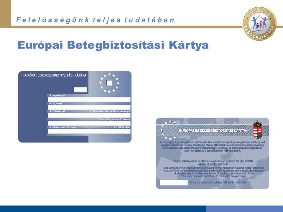 F e l e l ő s s é g ü n k t e l j e s t u d a t á b a n Európai Betegbiztosítási Kártya