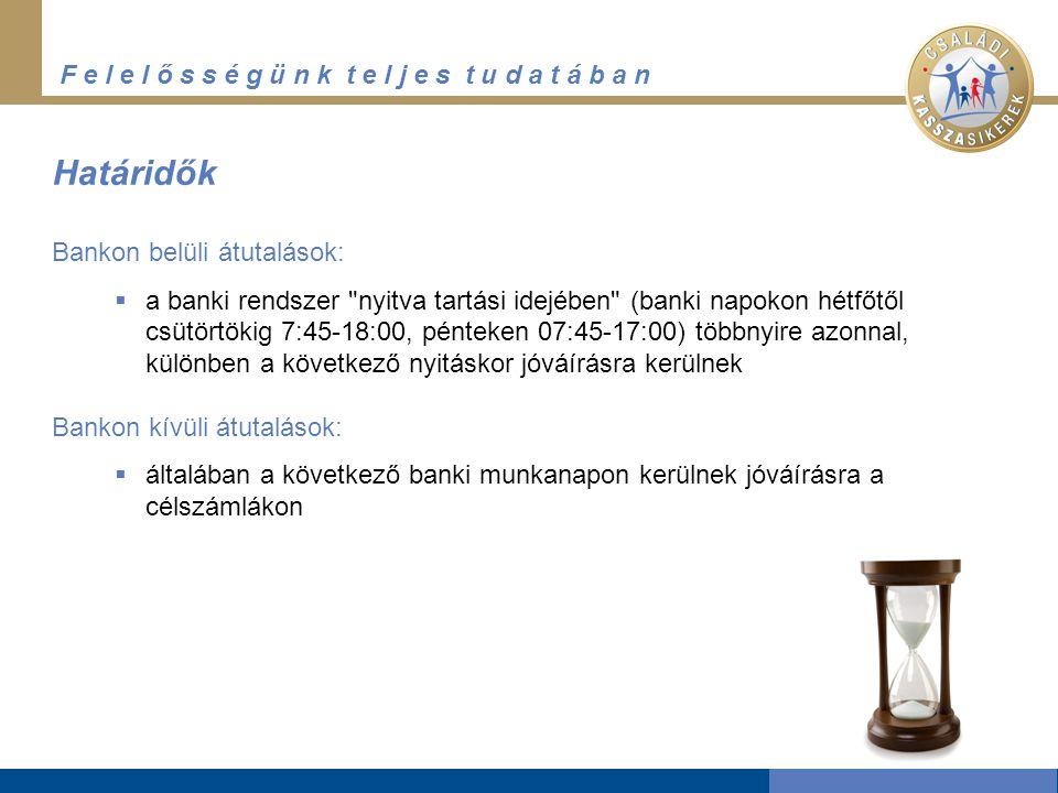 F e l e l ő s s é g ü n k t e l j e s t u d a t á b a n Bankon belüli átutalások:  a banki rendszer