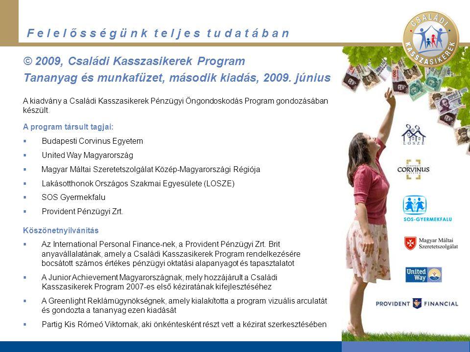 F e l e l ő s s é g ü n k t e l j e s t u d a t á b a n © 2009, Családi Kasszasikerek Program Tananyag és munkafüzet, második kiadás, 2009.