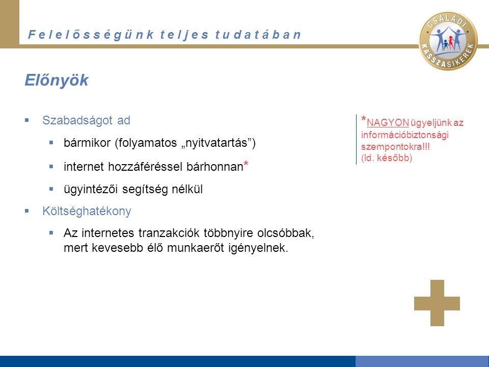 """F e l e l ő s s é g ü n k t e l j e s t u d a t á b a n Előnyök  Szabadságot ad  bármikor (folyamatos """"nyitvatartás"""")  internet hozzáféréssel bárho"""