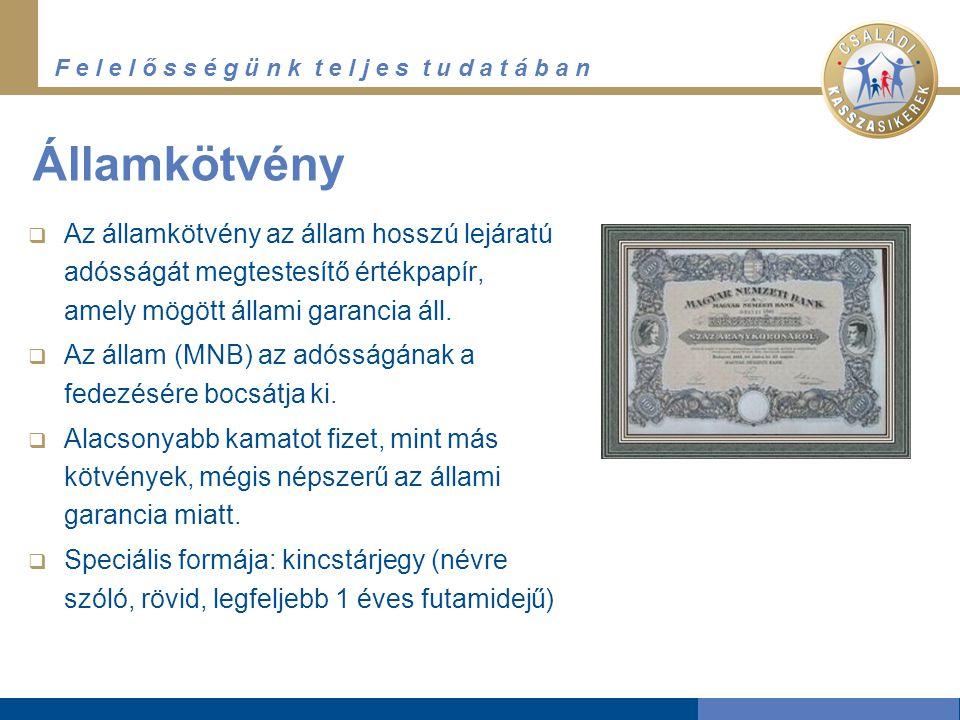 F e l e l ő s s é g ü n k t e l j e s t u d a t á b a n Nemzetközi piac  Más államok által kibocsátott kötvények is elérhetők Magyarországon.