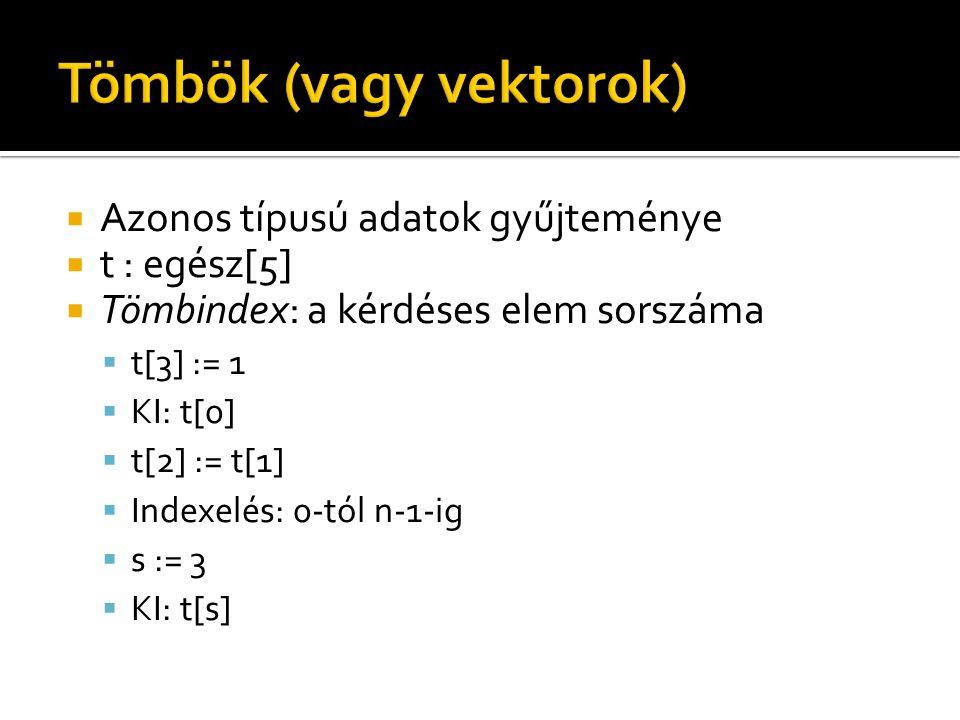  Azonos típusú adatok gyűjteménye  t : egész[5]  Tömbindex: a kérdéses elem sorszáma  t[3] := 1  KI: t[0]  t[2] := t[1]  Indexelés: 0-tól n-1-ig  s := 3  KI: t[s]