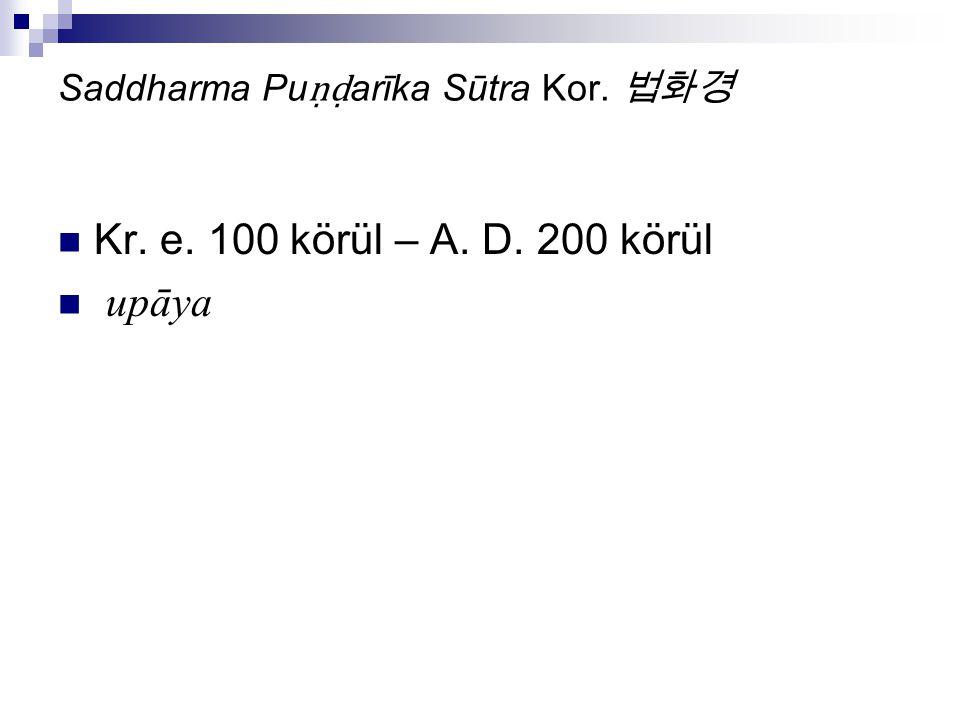Saddharma Pu ṇḍ arīka Sūtra Kor. 법화경 Kr. e. 100 körül – A. D. 200 körül upāya