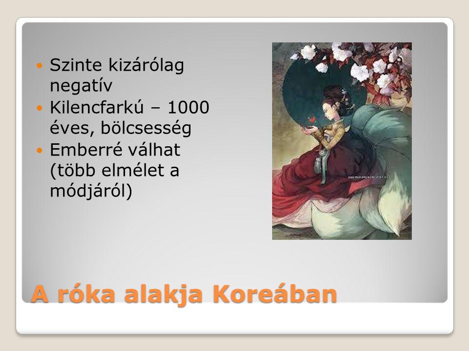 A róka alakja Koreában Szinte kizárólag negatív Kilencfarkú – 1000 éves, bölcsesség Emberré válhat (több elmélet a módjáról)