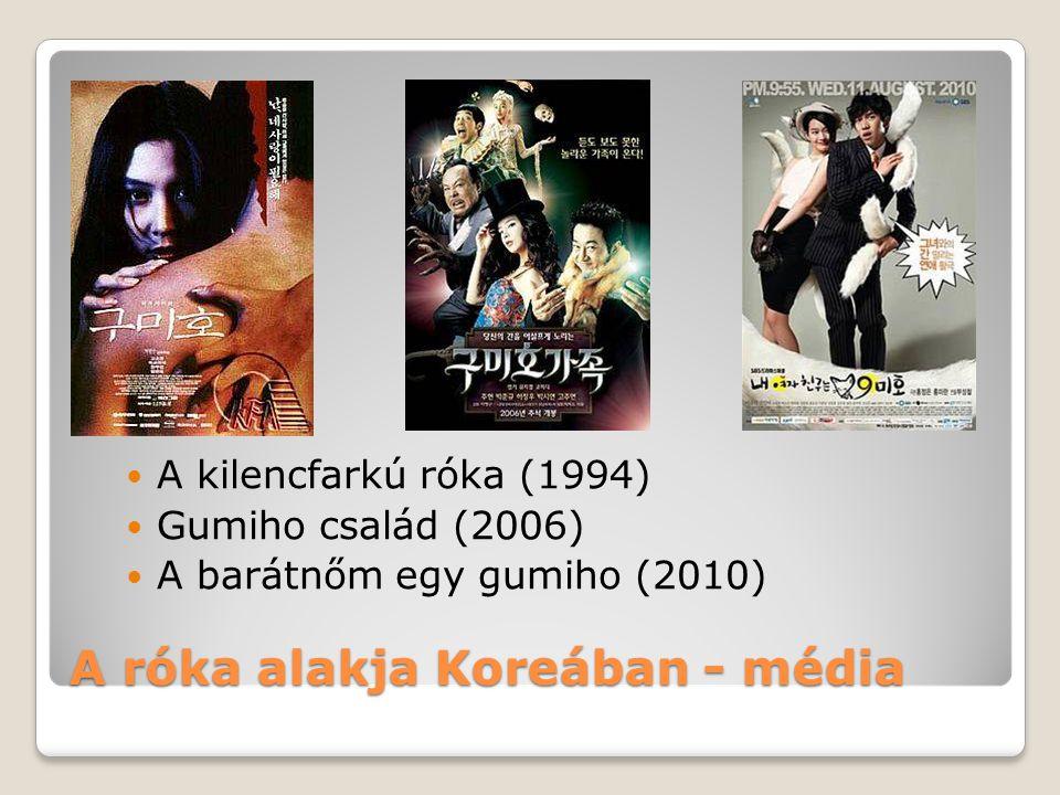A róka alakja Koreában - média A kilencfarkú róka (1994) Gumiho család (2006) A barátnőm egy gumiho (2010)