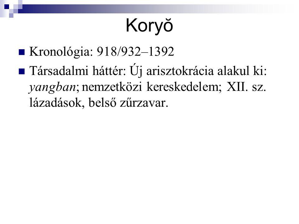 Koryŏ Kronológia: 918/932–1392 Társadalmi háttér: Új arisztokrácia alakul ki: yangban  nemzetközi kereskedelem; XII.