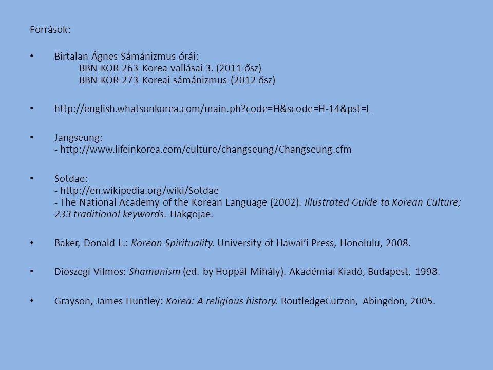 Források: Birtalan Ágnes Sámánizmus órái: BBN-KOR-263 Korea vallásai 3. (2011 ősz) BBN-KOR-273 Koreai sámánizmus (2012 ősz) http://english.whatsonkore