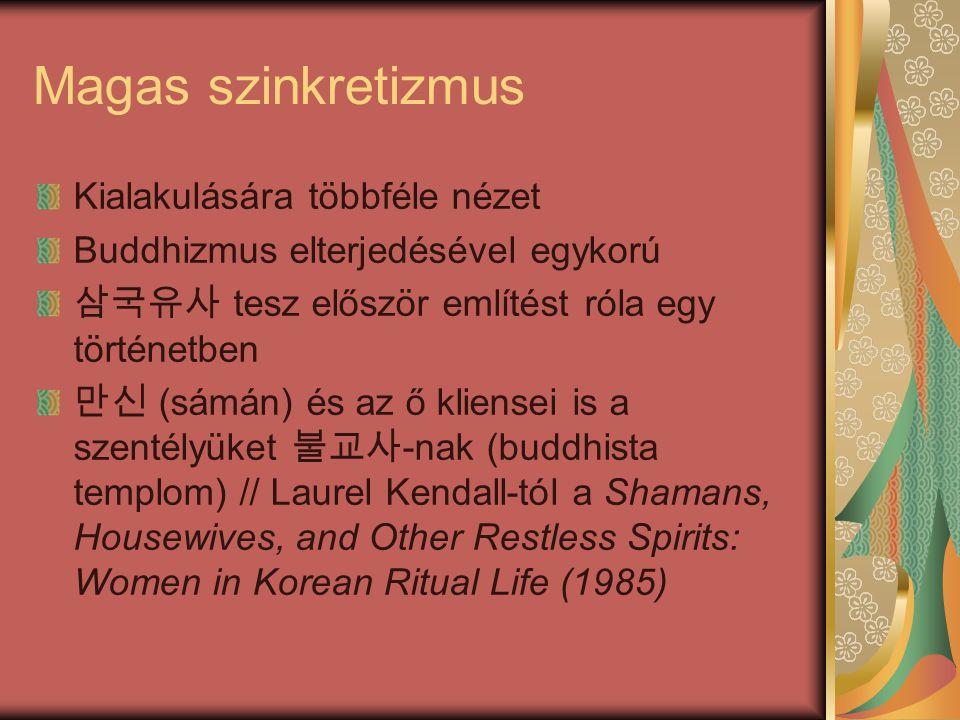 Magas szinkretizmus Kialakulására többféle nézet Buddhizmus elterjedésével egykorú 삼국유사 tesz először említést róla egy történetben 만신 (sámán) és az ő kliensei is a szentélyüket 불교사 -nak (buddhista templom) // Laurel Kendall-tól a Shamans, Housewives, and Other Restless Spirits: Women in Korean Ritual Life (1985)