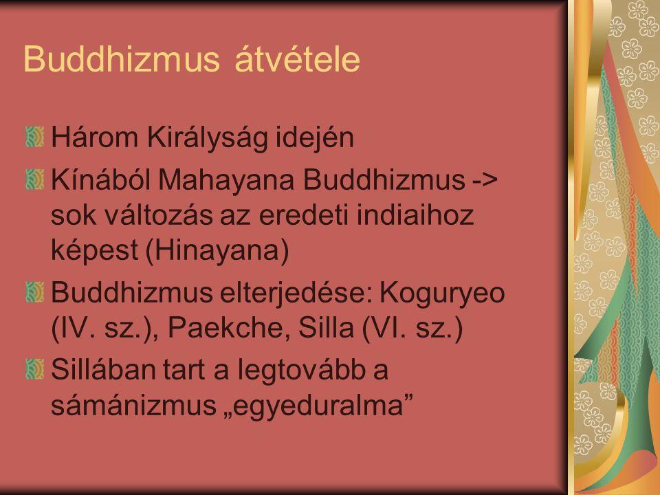 Buddhizmus átvétele Három Királyság idején Kínából Mahayana Buddhizmus -> sok változás az eredeti indiaihoz képest (Hinayana) Buddhizmus elterjedése: Koguryeo (IV.
