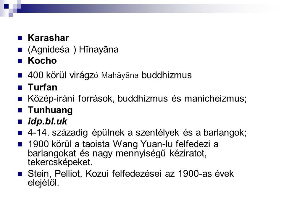 Karashar (Agnideśa ) Hīnayāna Kocho 400 körül virágz ó Mahāyāna buddhizmus Turfan Közép-iráni források, buddhizmus és manicheizmus; Tunhuang idp.bl.uk