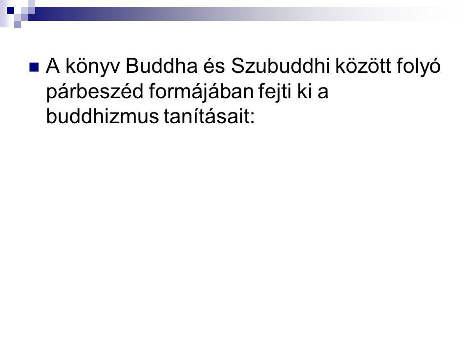 A könyv Buddha és Szubuddhi között folyó párbeszéd formájában fejti ki a buddhizmus tanításait: