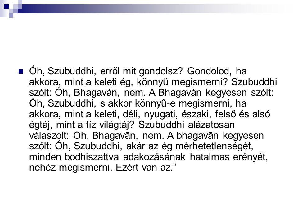 Óh, Szubuddhi, erről mit gondolsz? Gondolod, ha akkora, mint a keleti ég, könnyű megismerni? Szubuddhi szólt: Óh, Bhagaván, nem. A Bhagaván kegyesen s