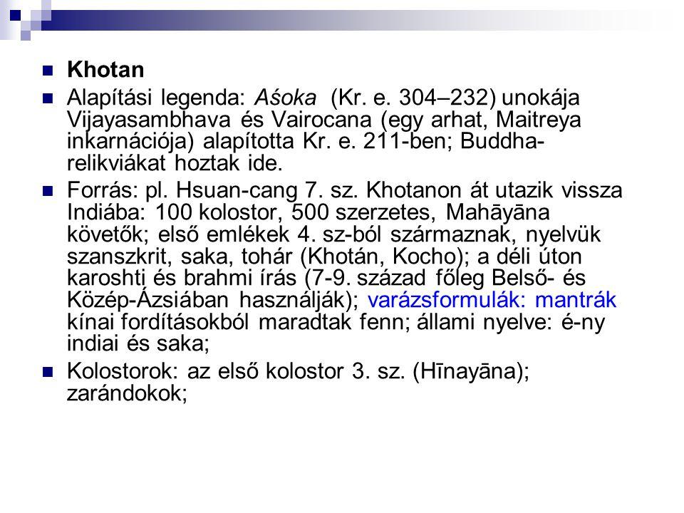 Khotan Alapítási legenda: Aśoka (Kr. e. 304–232) unokája Vijayasambhava és Vairocana (egy arhat, Maitreya inkarnációja) alapította Kr. e. 211-ben; Bud