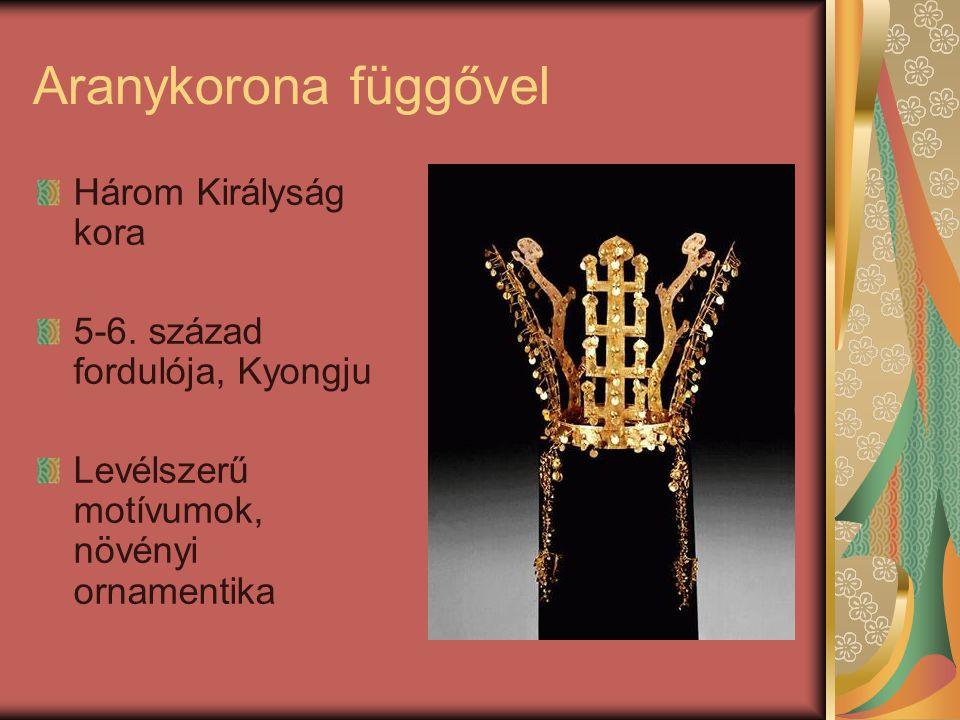 Aranykorona függővel Három Királyság kora 5-6. század fordulója, Kyongju Levélszerű motívumok, növényi ornamentika