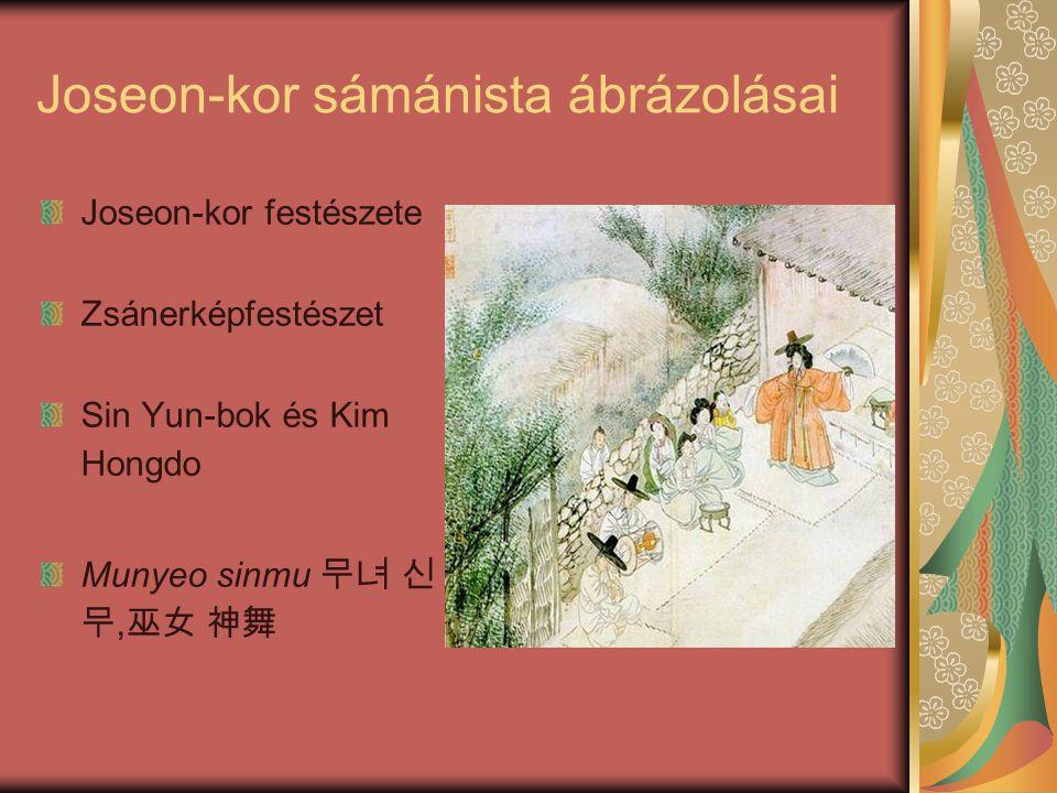 Joseon-kor sámánista ábrázolásai Joseon-kor festészete Zsánerképfestészet Sin Yun-bok és Kim Hongdo Munyeo sinmu 무녀 신 무, 巫女 神舞
