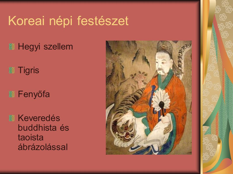 Koreai népi festészet Hegyi szellem Tigris Fenyőfa Keveredés buddhista és taoista ábrázolással