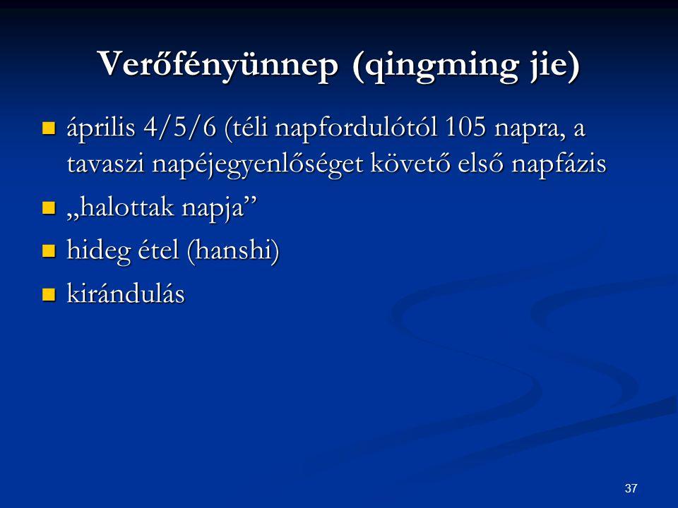 37 Verőfényünnep (qingming jie) április 4/5/6 (téli napfordulótól 105 napra, a tavaszi napéjegyenlőséget követő első napfázis április 4/5/6 (téli napf
