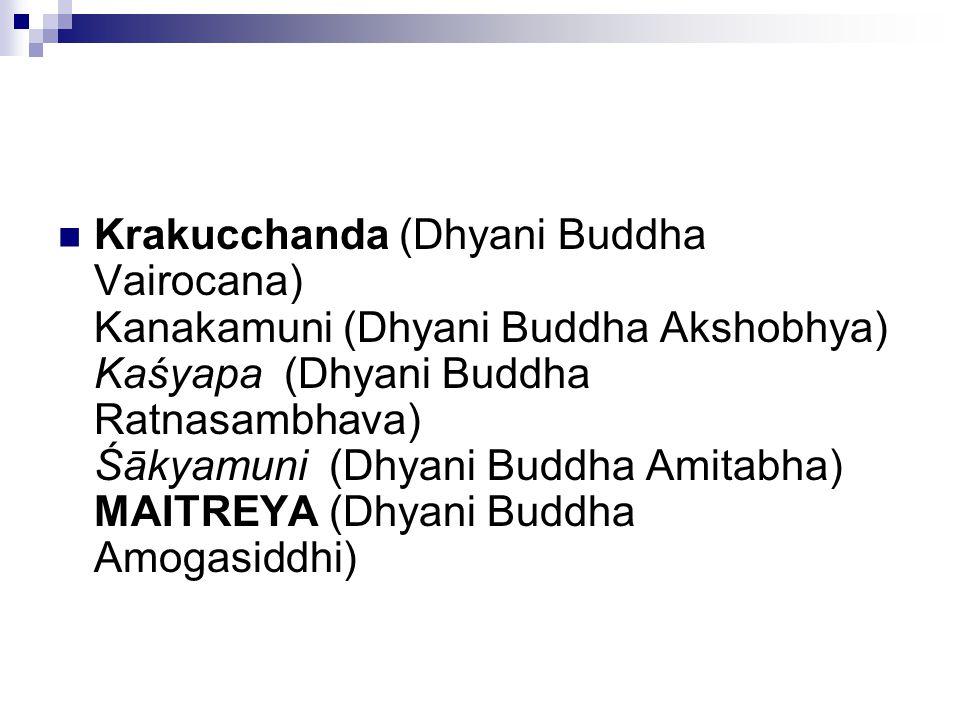 Krakucchanda (Dhyani Buddha Vairocana) Kanakamuni (Dhyani Buddha Akshobhya) Kaśyapa (Dhyani Buddha Ratnasambhava) Śākyamuni (Dhyani Buddha Amitabha) M