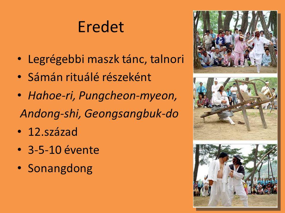 Eredet Legrégebbi maszk tánc, talnori Sámán rituálé részeként Hahoe-ri, Pungcheon-myeon, Andong-shi, Geongsangbuk-do 12.század 3-5-10 évente Sonangdong