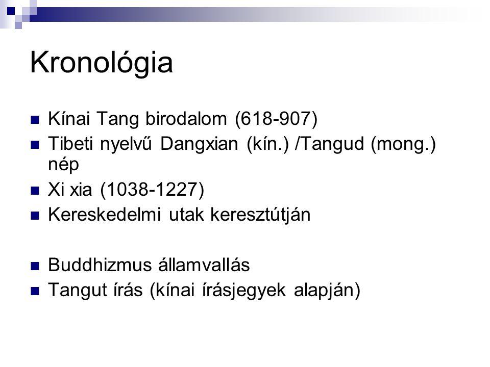 Kronológia Kínai Tang birodalom (618-907) Tibeti nyelvű Dangxian (kín.) /Tangud (mong.) nép Xi xia (1038-1227) Kereskedelmi utak keresztútján Buddhizm