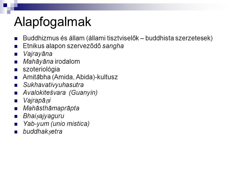 Alapfogalmak Buddhizmus és állam (állami tisztviselők – buddhista szerzetesek) Etnikus alapon szerveződő sangha Vajrayāna Mahāyāna irodalom szoterioló