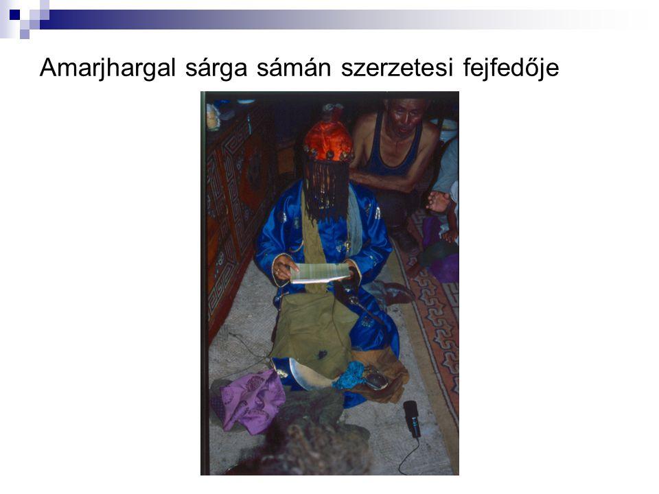 Amarjhargal sárga sámán szerzetesi fejfedője