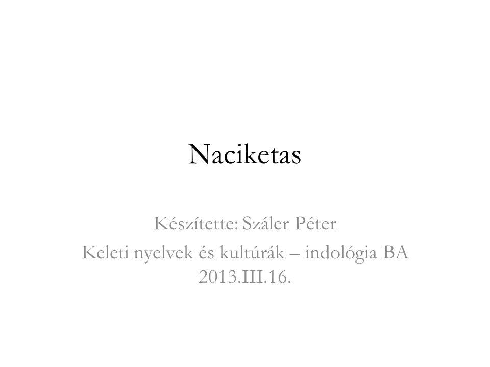 Naciketas Készítette: Száler Péter Keleti nyelvek és kultúrák – indológia BA 2013.III.16.