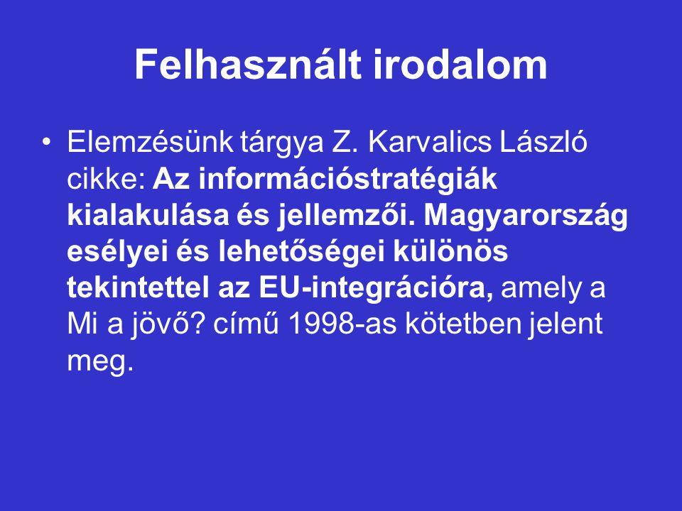 Felhasznált irodalom Elemzésünk tárgya Z.