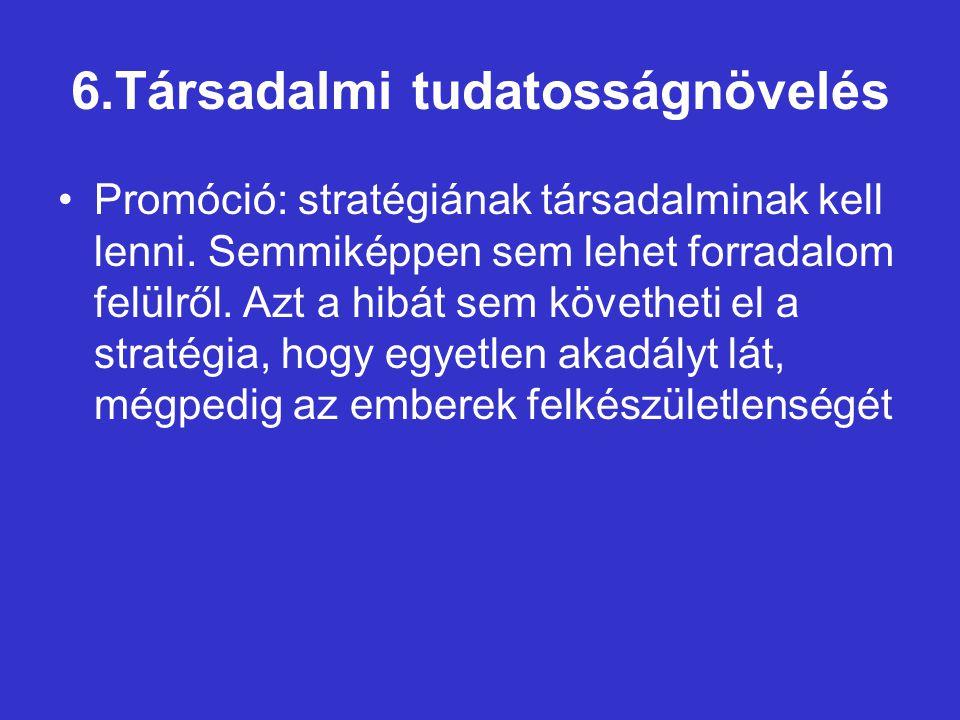 6.Társadalmi tudatosságnövelés Promóció: stratégiának társadalminak kell lenni.