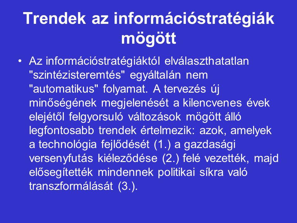 Trendek az információstratégiák mögött Az információstratégiáktól elválaszthatatlan szintézisteremtés egyáltalán nem automatikus folyamat.