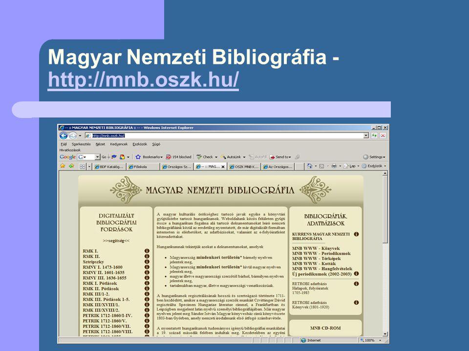 Irodalmi Bibliográfia - http://www.fszek.hu http://www.fszek.hu