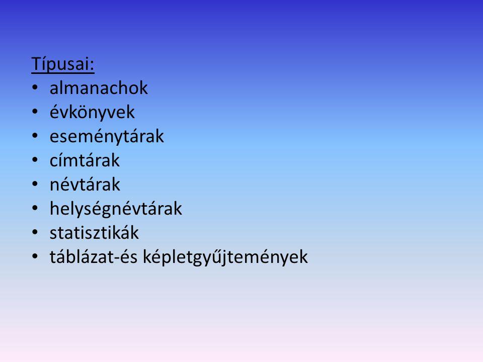 Almanach: a középkorban csillagászati naptár, kalendárium a könyvnyomtatás feltalálása után irodalmi szövegeket is tartalmaz – irodalmi almanachok manapság mindenféle, nem folyóirat jellegű periodikus kiadványt is így kezdtek nevezni, így a tudományos jellegű évkönyveket is Példák: Idegenforgalmi Almanachot: magyarországi szálláshelyek, éttermek, kulturális lehetőségek Tények könyve: magyar és nemzetközi almanach A 2002-ben megválasztott országgyűlés almanachja Stb.