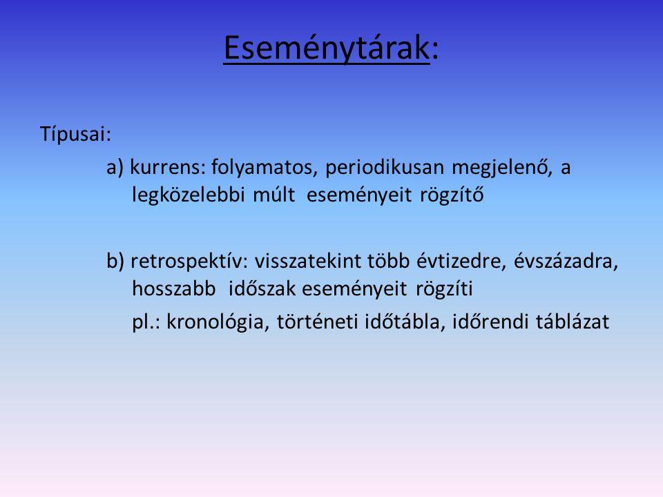 Példák: Magyarország történeti kronológiája: 4 kötetben Az emberiség krónikája (1991) A XX.