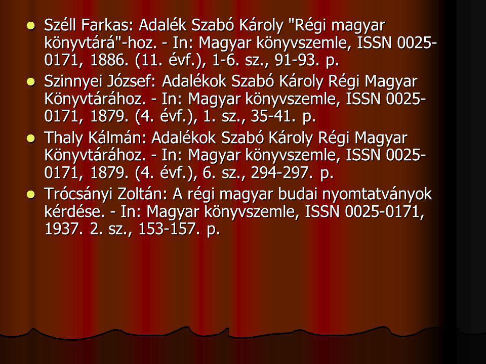 Széll Farkas: Adalék Szabó Károly