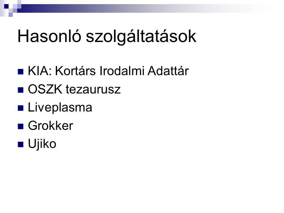 Hasonló szolgáltatások KIA: Kortárs Irodalmi Adattár OSZK tezaurusz Liveplasma Grokker Ujiko