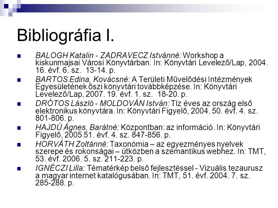 Bibliográfia I. BALOGH Katalin - ZADRAVECZ Istvánné: Workshop a kiskunmajsai Városi Könyvtárban. In: Könyvtári Levelező/Lap, 2004. 16. évf. 6. sz. 13-