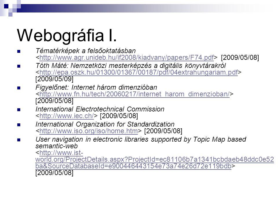 Webográfia I. Tématérképek a felsőoktatásban [2009/05/08]http://www.agr.unideb.hu/if2008/kiadvany/papers/F74.pdf Tóth Máté: Nemzetközi mesterképzés a
